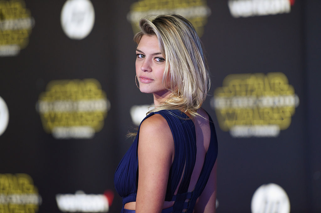 "Model Kelly Rohrbach attends the premiere of Walt Disney Pictures and Lucasfilm's ""Star Wars: The Force Awakens"" on December 14th, 2015 in Hollywood, California."