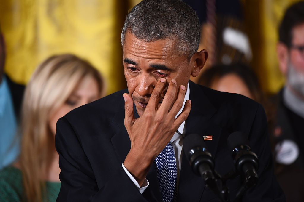 Obama gets emotional as he delivers a statement on executive actions to reduce gun violence