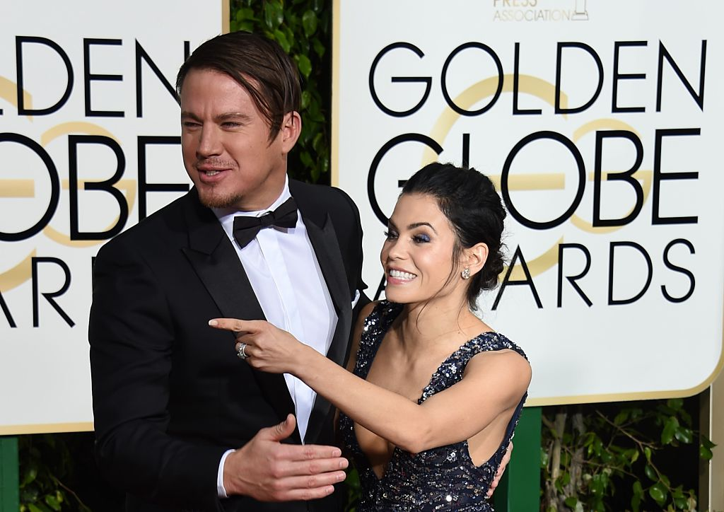 Channing Tatum (L) and Jenna Dewan Tatum arrive for the 73nd annual Golden Globe Awards, January 10, 2016, at the Beverly Hilton Hotel in Beverly Hills, California.