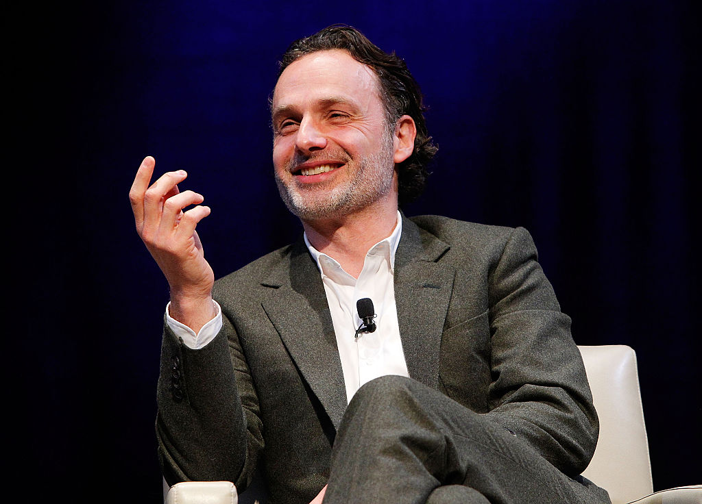 "Actor Andrew Lincoln, who stars as Rick Grimes in 'The Walking Dead', participates in the ""Behind the Scenes of The Walking Dead, Smithsonian Associates"" panel discussion at the George Washington University, Lisner Auditorium on February 5, 2016 in Washington, DC."