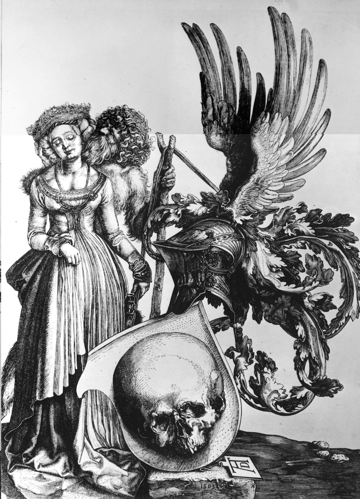 A black and white illustration.