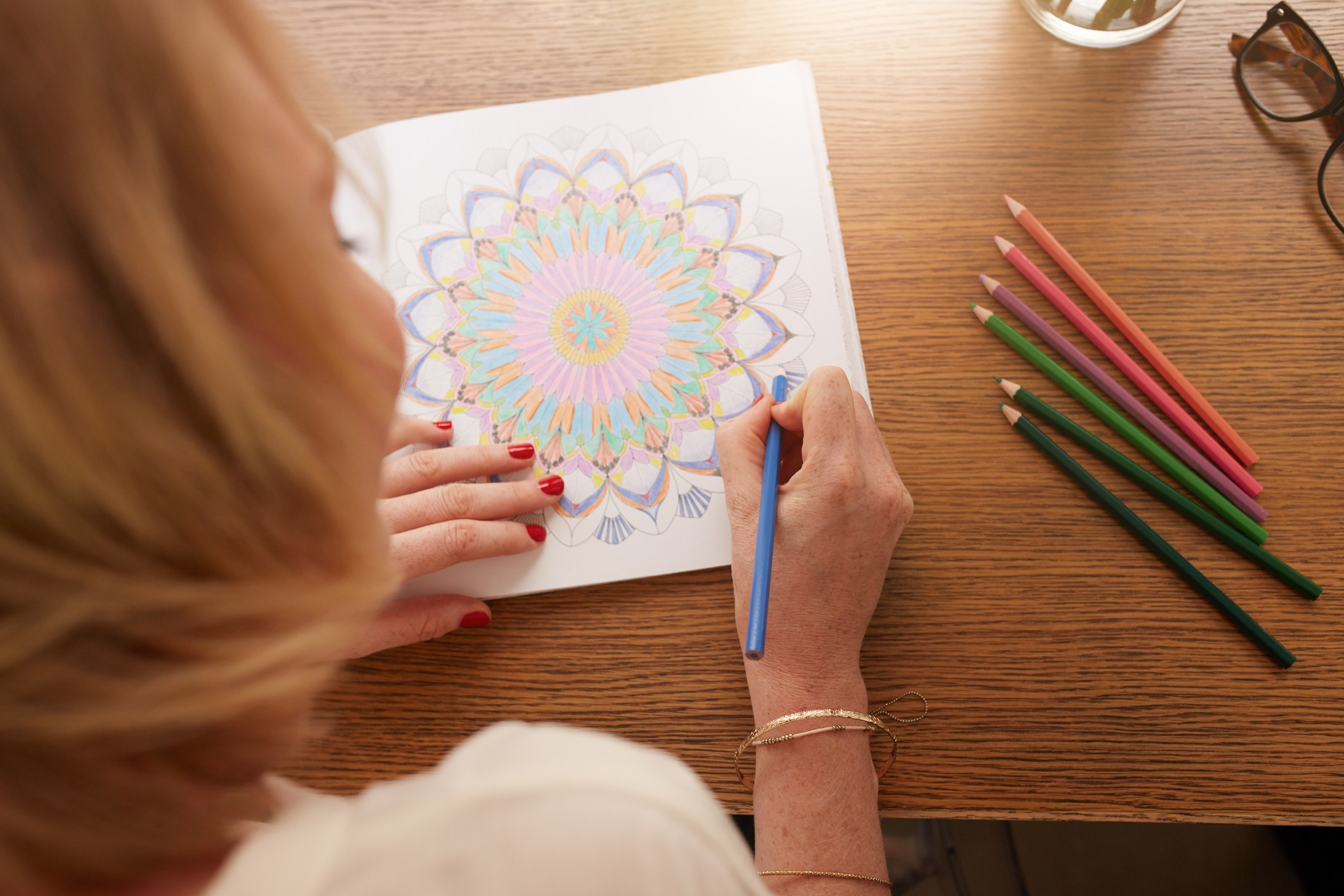 Drawing in adult coloring book