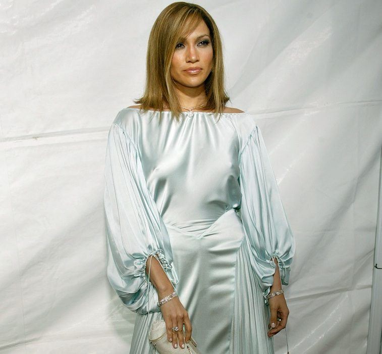 """Actress Jennifer Lopez arrives at New Line Cinema's Premiere of """"Monster In Law"""" at the Mann National Theatre on April 29, 2005 in Westwood, California."""
