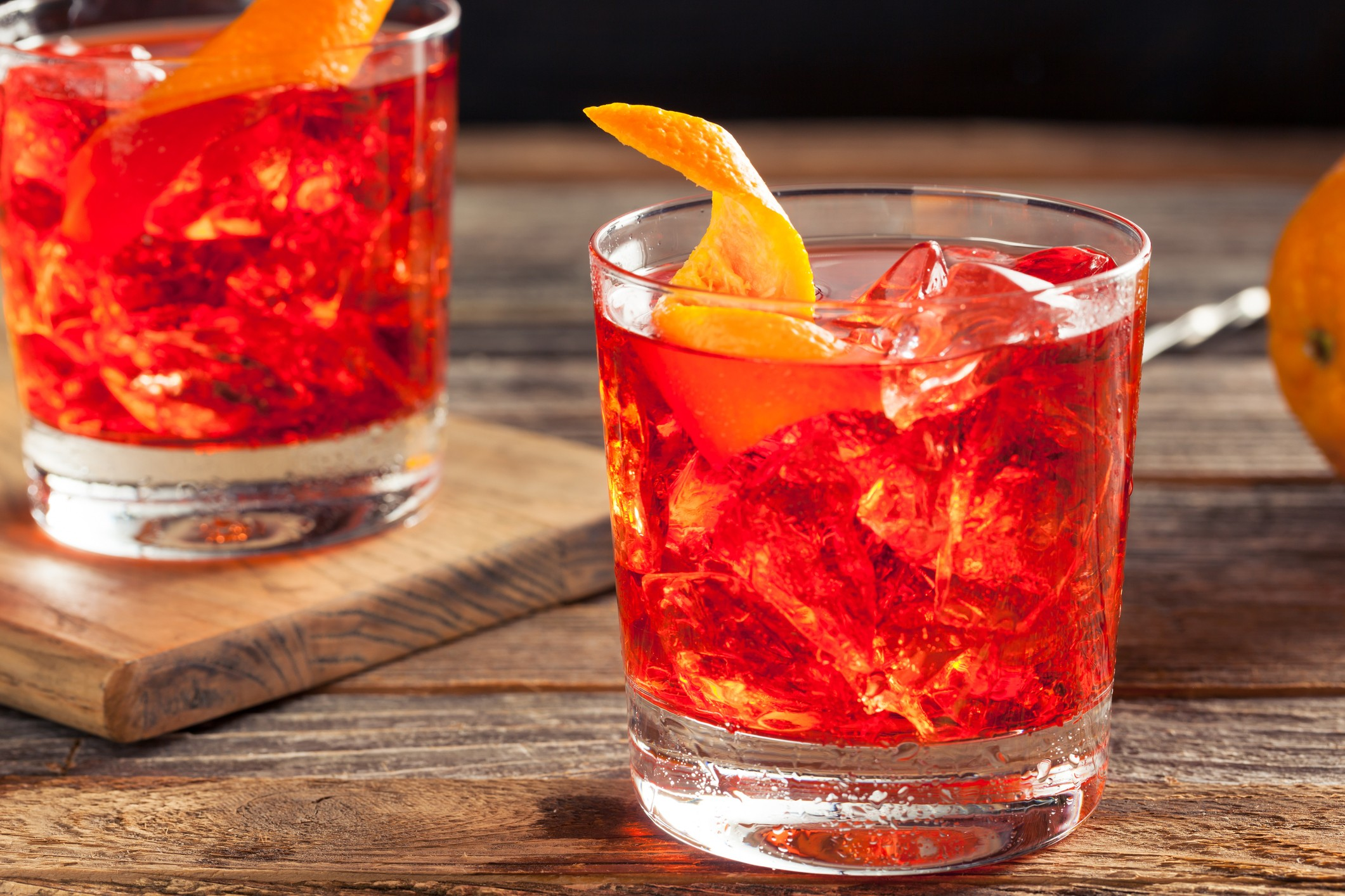 Homemade Negroni Cocktail with and Orange Twist