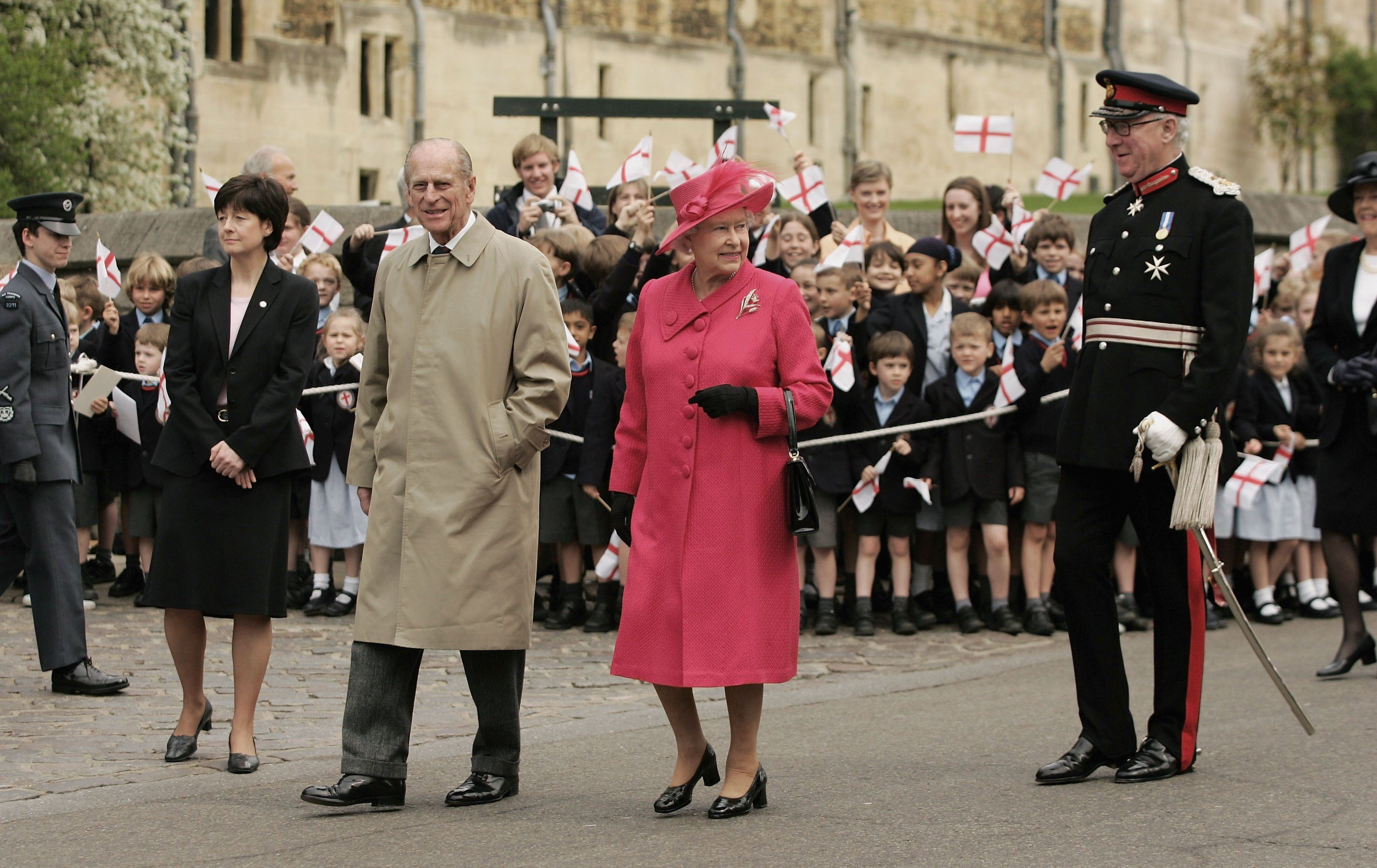 Queen Elizabeth II and Prince Philip, Duke of Edinburgh meet with well wishers on April 21, 2006 in Windsor, England. HRH Queen Elizabeth II is taking part in her traditional walk in the town to celebrate her 80th Birthday. In the evening the Prince of Wales will host a private party for The Queen and other members of the Royal family at Kew Palace.