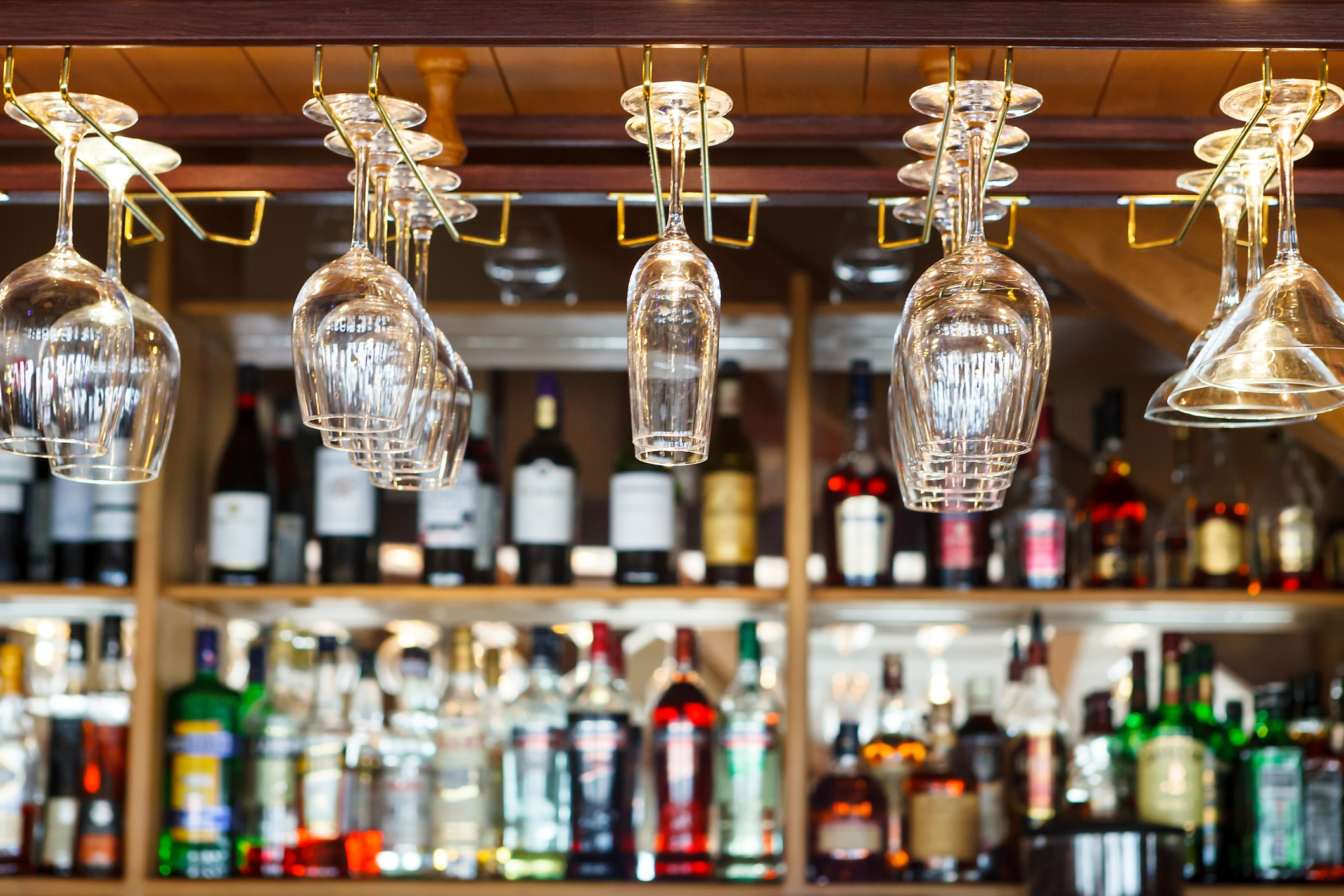 bar with glasses hanging
