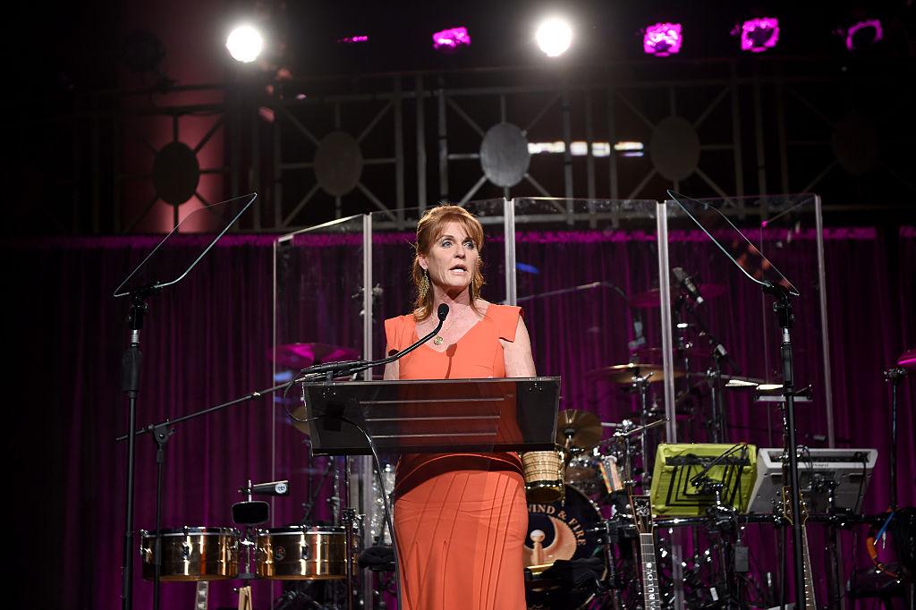 Sarah Ferguson at a podium