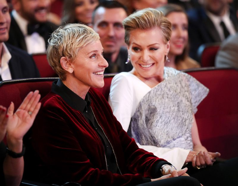 TV personality Ellen DeGeneres (L) and actress Portia de Rossi attend the People's Choice Awards 2017 at Microsoft Theater on January 18, 2017 in Los Angeles, California.