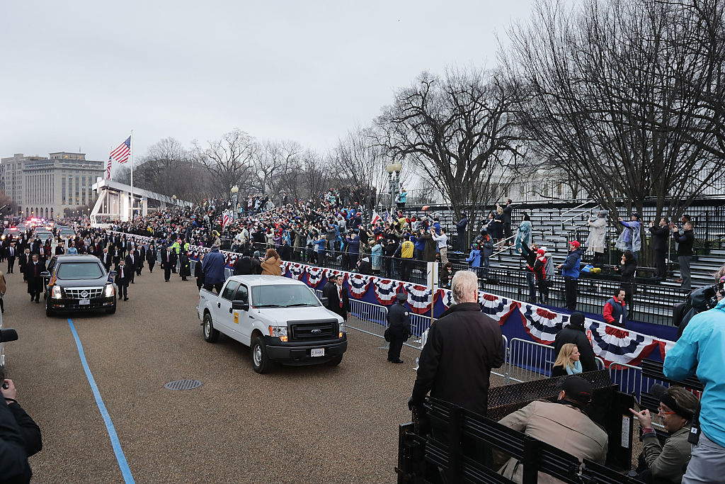 trump inauguration parade route with empty bleachers