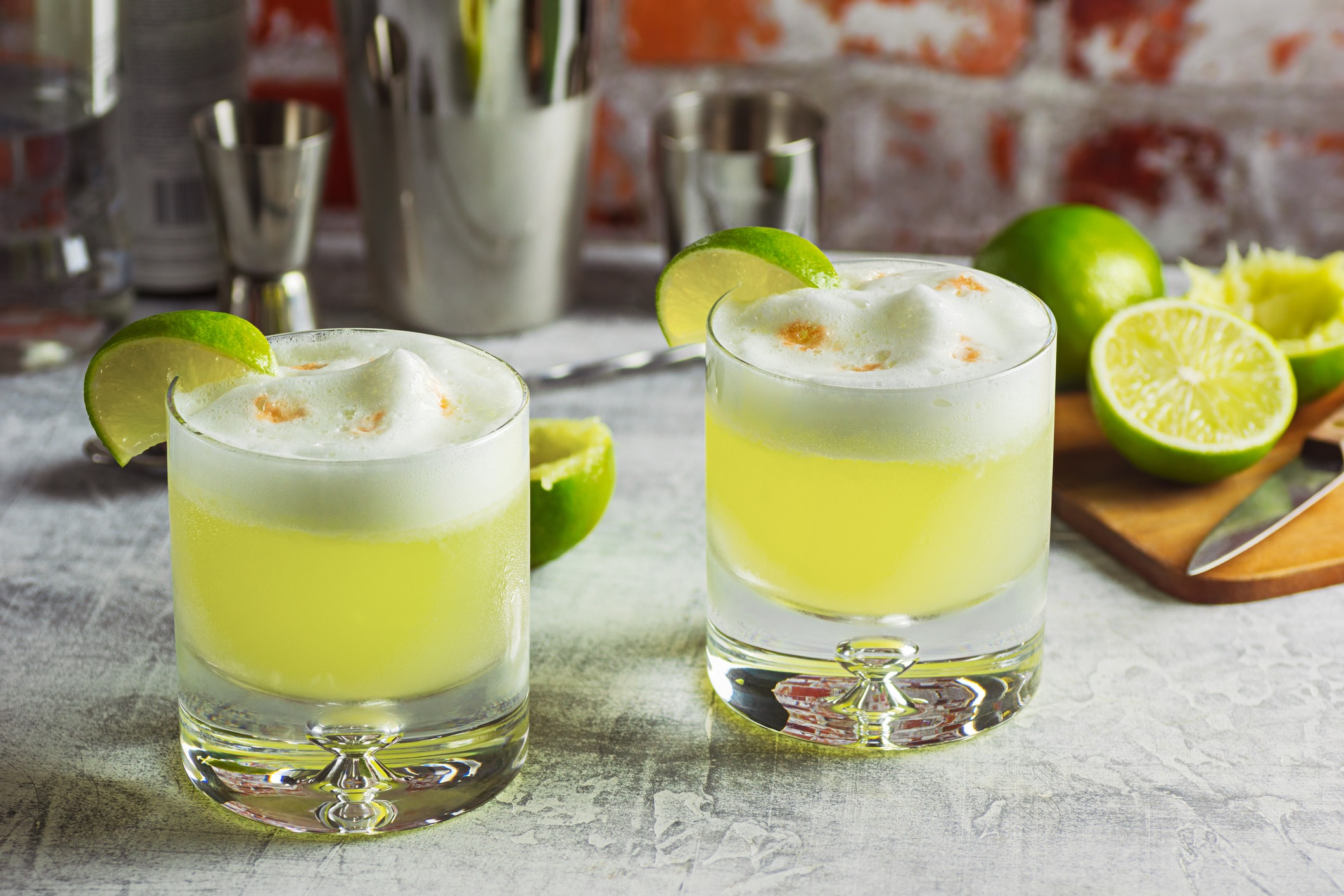 two pisco sour cocktails