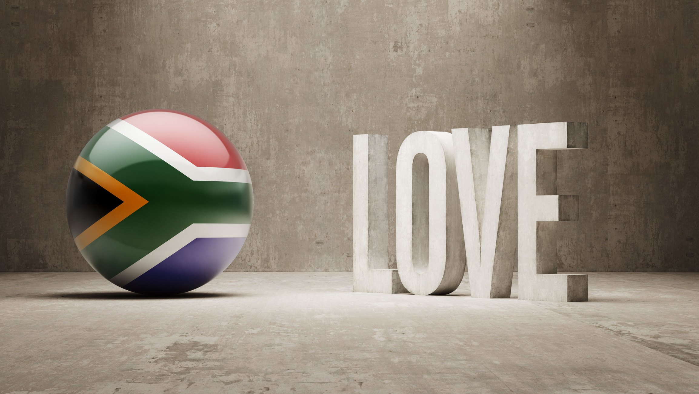 south africa ball with love sign
