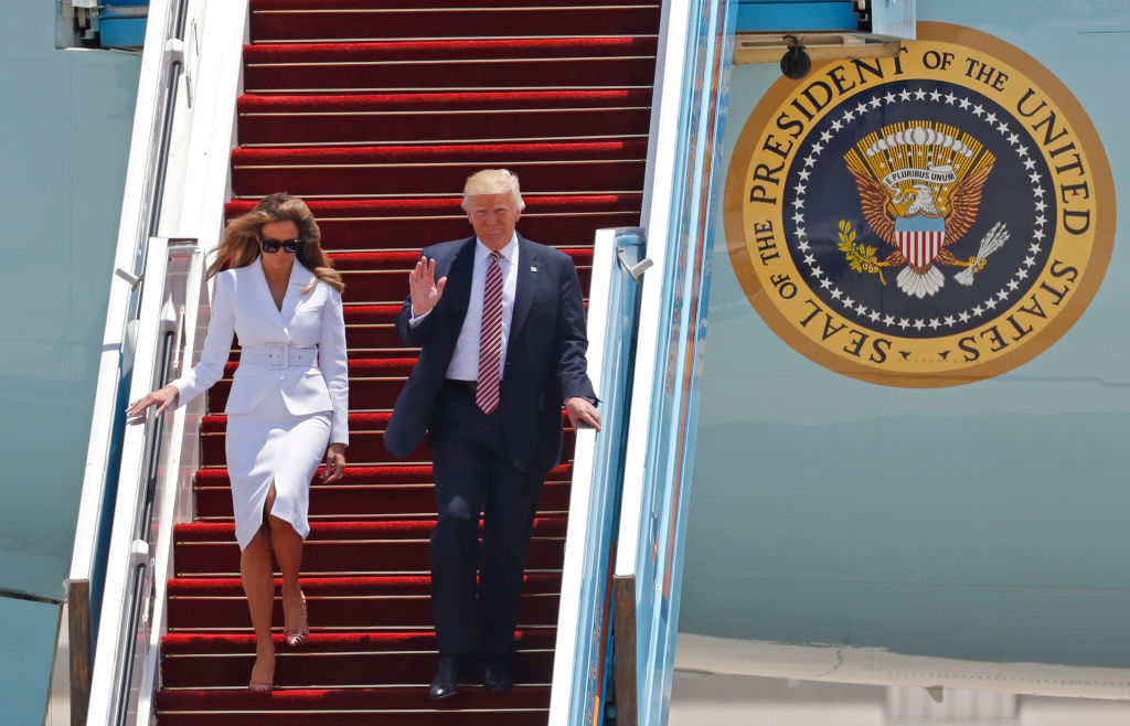 US President Donald Trump and First Lady Melania Trump disembark Air Force One upon their arrival at Ben Gurion International Airport in Tel Aviv on May 22, 2017, as part of his first trip overseas