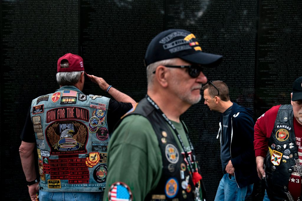 Veterans visit the Vietnam Memorial on the National Mall.