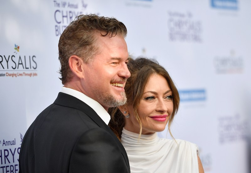 Eric Dane and Rebecca Gayheart-Dane pose and smile together.