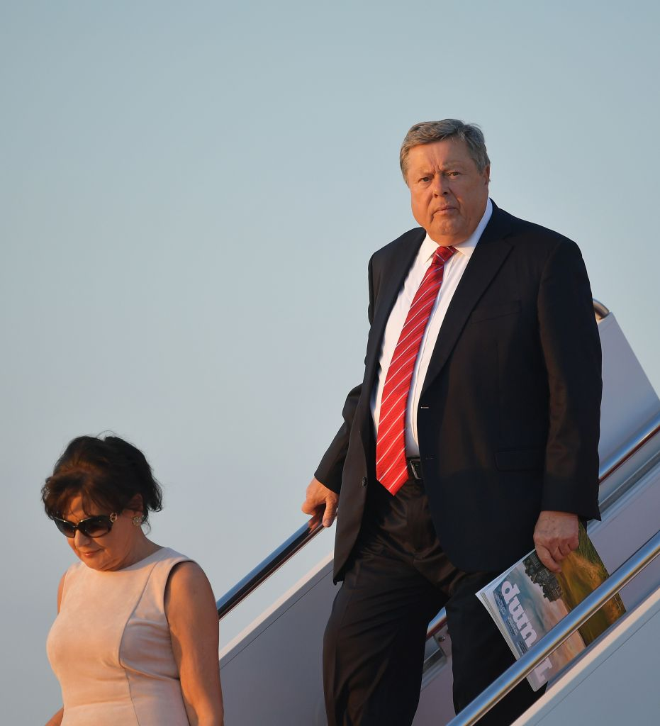 Viktor Knavs and Amalija Knavs, the parents of US First Lady Melania Trump step off Air Force One