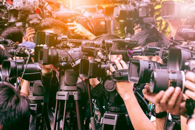 large number of press and media reporter in broadcasting event