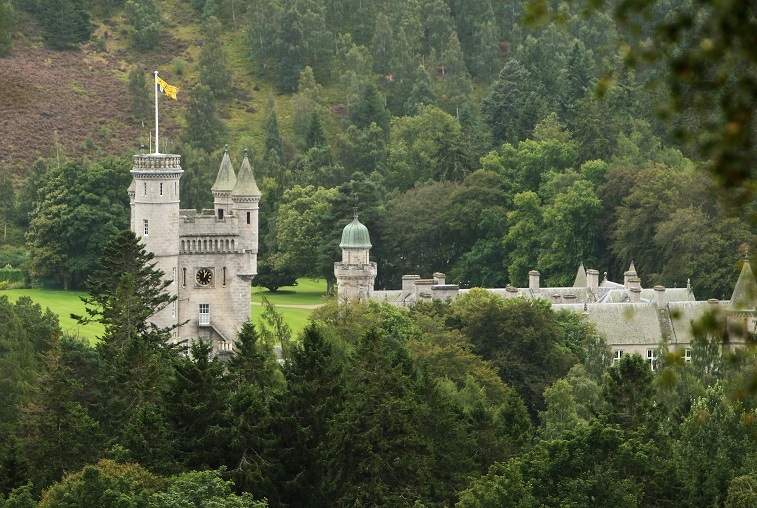 Balmoral Castle on the Balmoral Estate in Aberdeenshire, Scotland