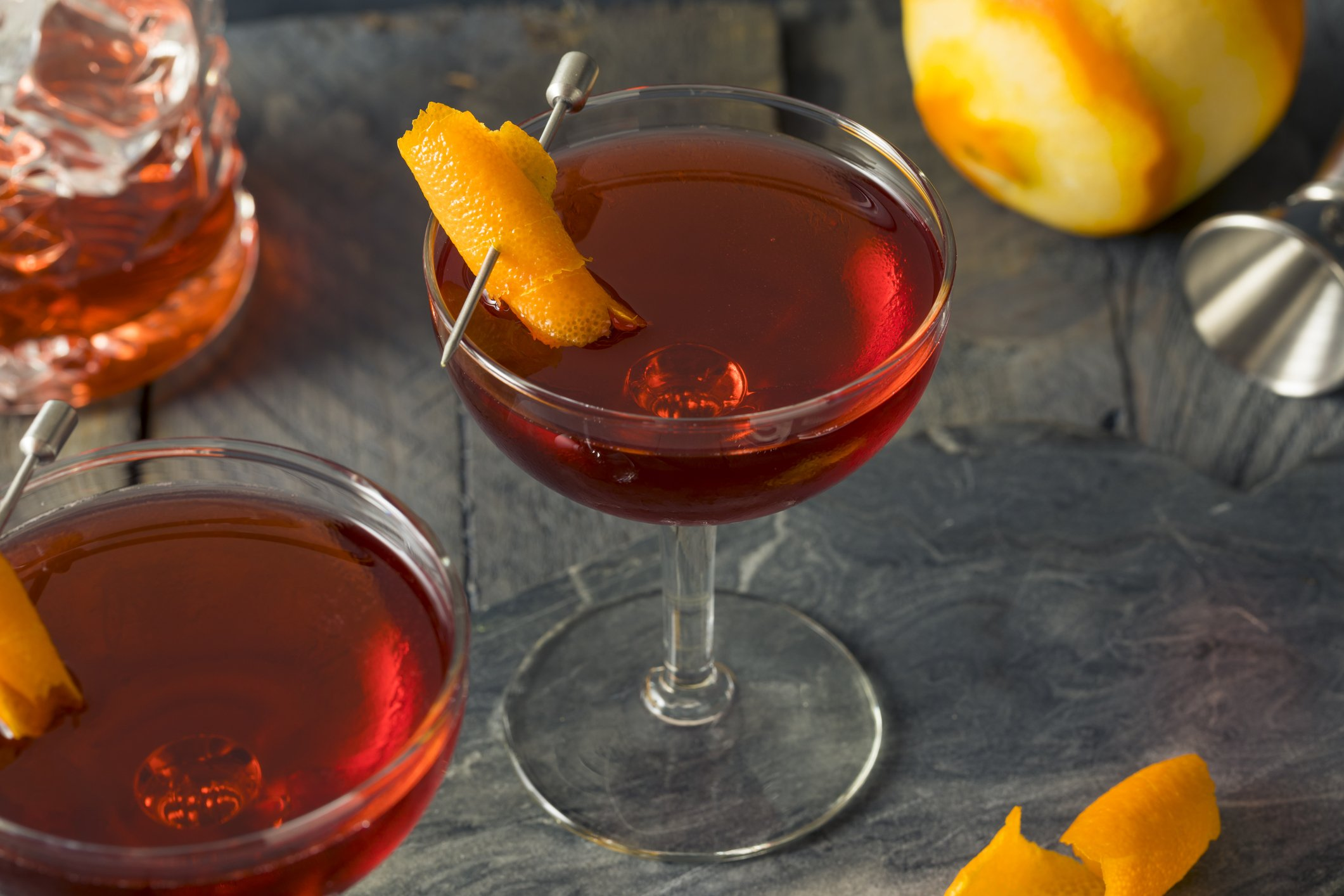 Homemade Red Boulevardier Cocktail with Orange Garnish
