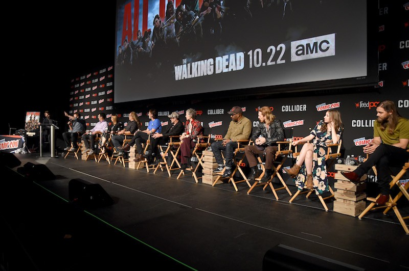 The cast of The Walking Dead speak onstage during the Comic Con The Walking Dead panel at The Theater at Madison Square Garden on October 7, 2017 in New York City.