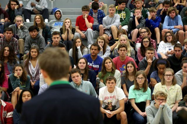 Tyler Ruzich, 17, of Prairie Village, Kansas, speaks during a forum with the three other teenage candidates for Kansas Governor.