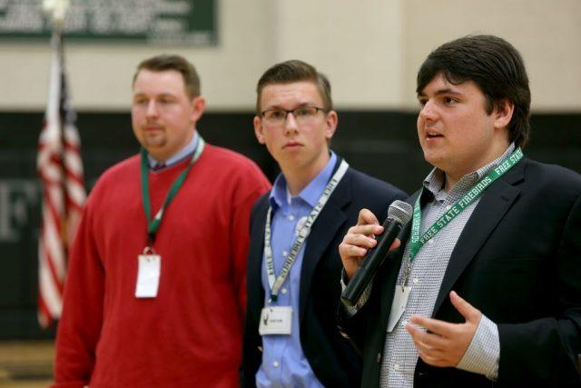 Jack Bergeson, 16, of Wichita, Kansas speaks during a forum with some of the teenage candidates for Kansas Governor.