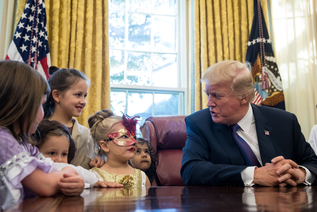 trump meets with kids at white house for halloween