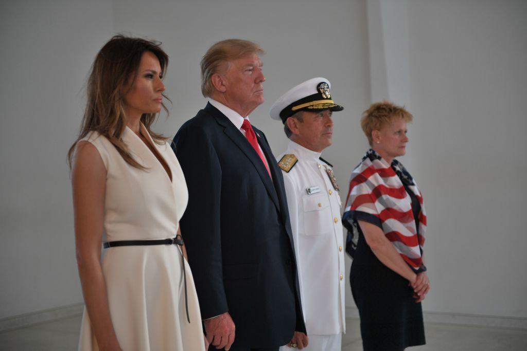 melania and donald trump at the pearl harbor memorial