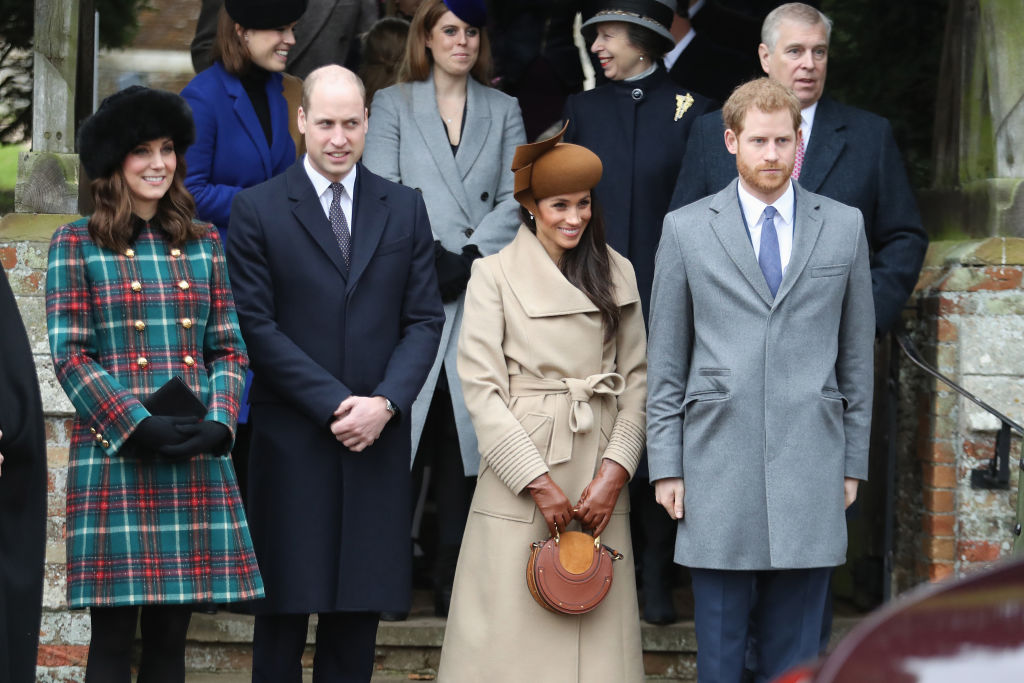 Princess Beatrice, Princess Eugenie, Princess Anne, Princess Royal, Prince Andrew, Duke of York, Prince William, Duke of Cambridge, Catherine, Duchess of Cambridge, Meghan Markle and Prince Harry