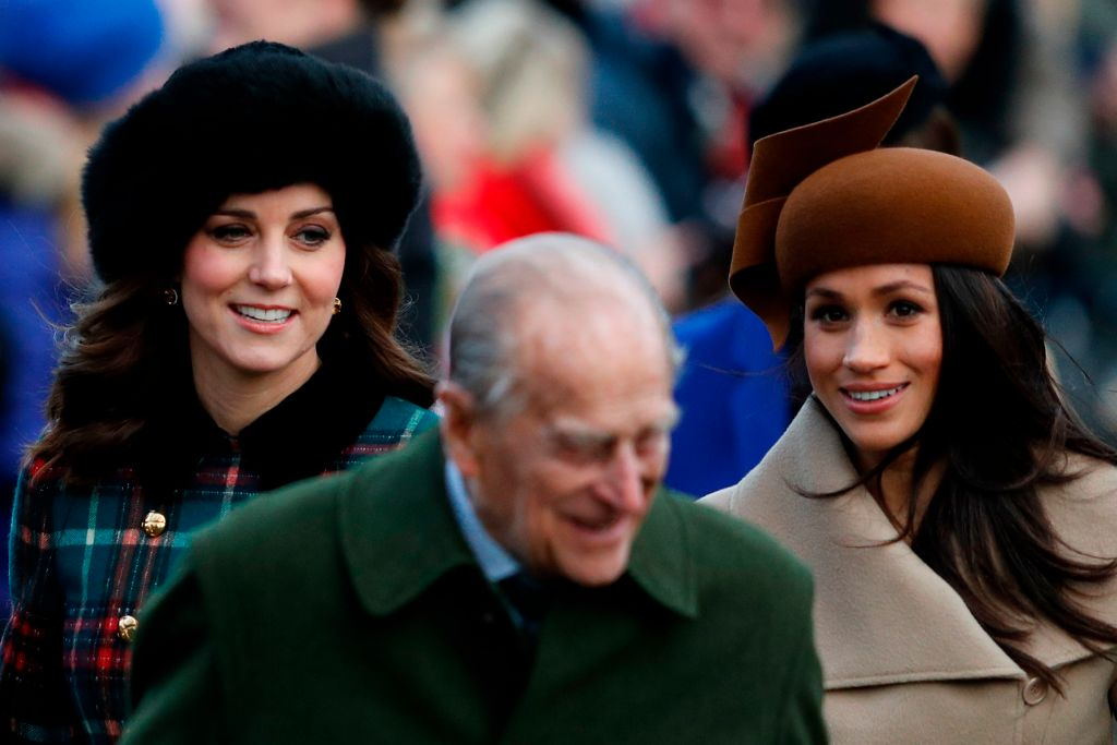 Britain's Catherine, Duchess of Cambridge, Britain's Prince Philip, Duke of Edinburgh and Meghan Markle