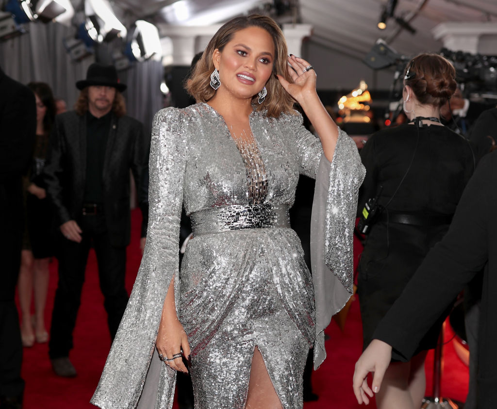 Model Chrissy Teigen attends the 60th Annual GRAMMY Awards at Madison Square Garden on January 28, 2018 in New York City.