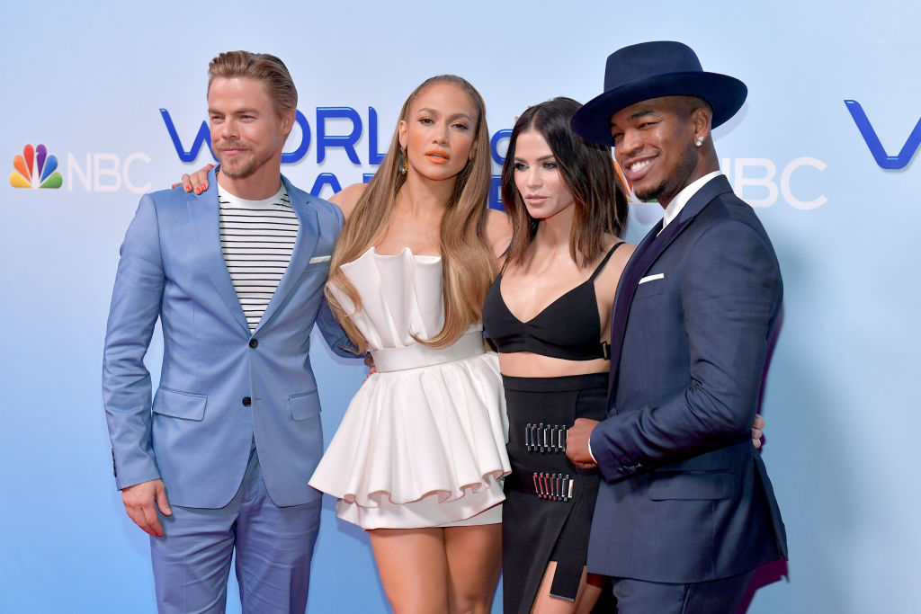 (Left to right) Derek Hough, Jennifer Lopez, Jenna Dewan, and Ne-Yo attend a photo op for NBC's 'World Of Dance' at NBC Universal Lot on January 30, 2018 in Universal City, California.
