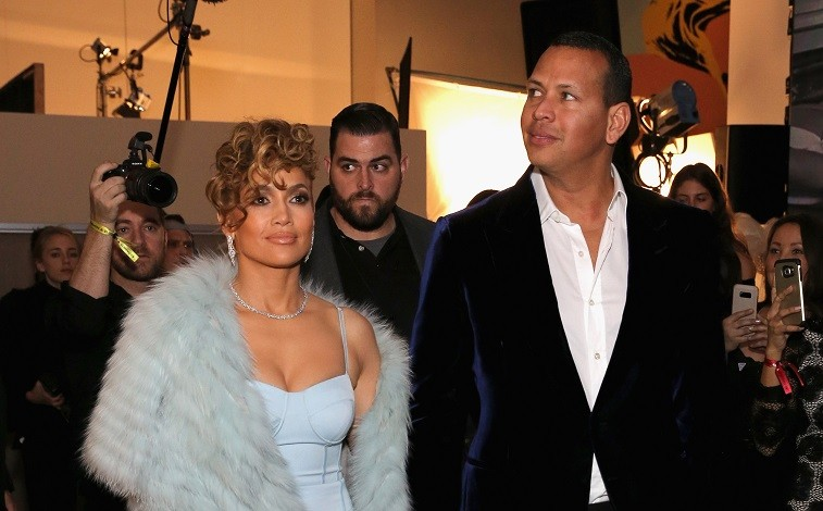 Jennifer Lopez and Alex Rodriquez at the Guess Spring 2018 Campaign Reveal starring Jennifer Lopez on January 31, 2018 in Los Angeles, California.