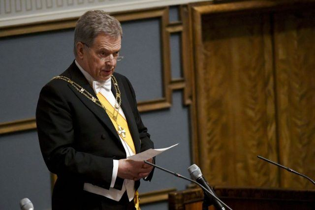 Re-elected President Sauli Niinistö speaks during the inauguration ceremony of the President of the Republic of Finland during a plenary session of the Finnish Parliament in Helsinki.