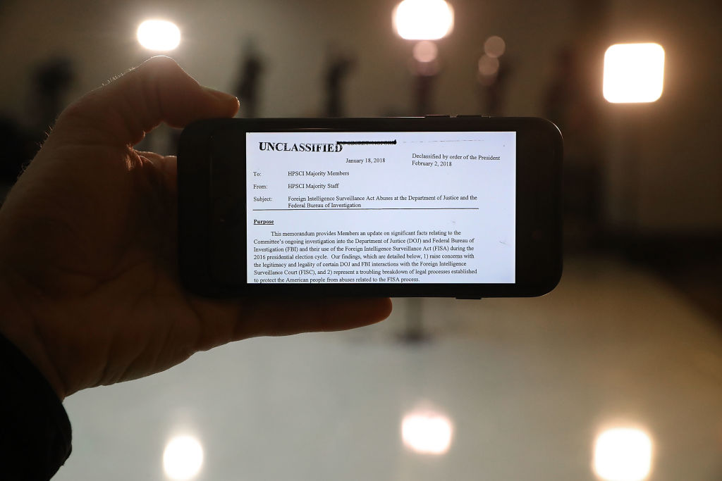 a phone with the text of the nunes memo on it