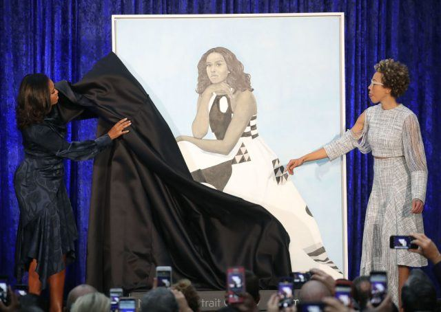 Michelle Obama unveils her portrait by Amy Sherald at the National Portrait Gallery in Washington D.C.