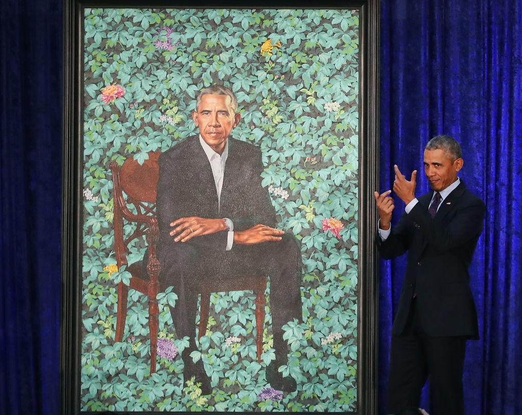 Barack Obama with his portrait
