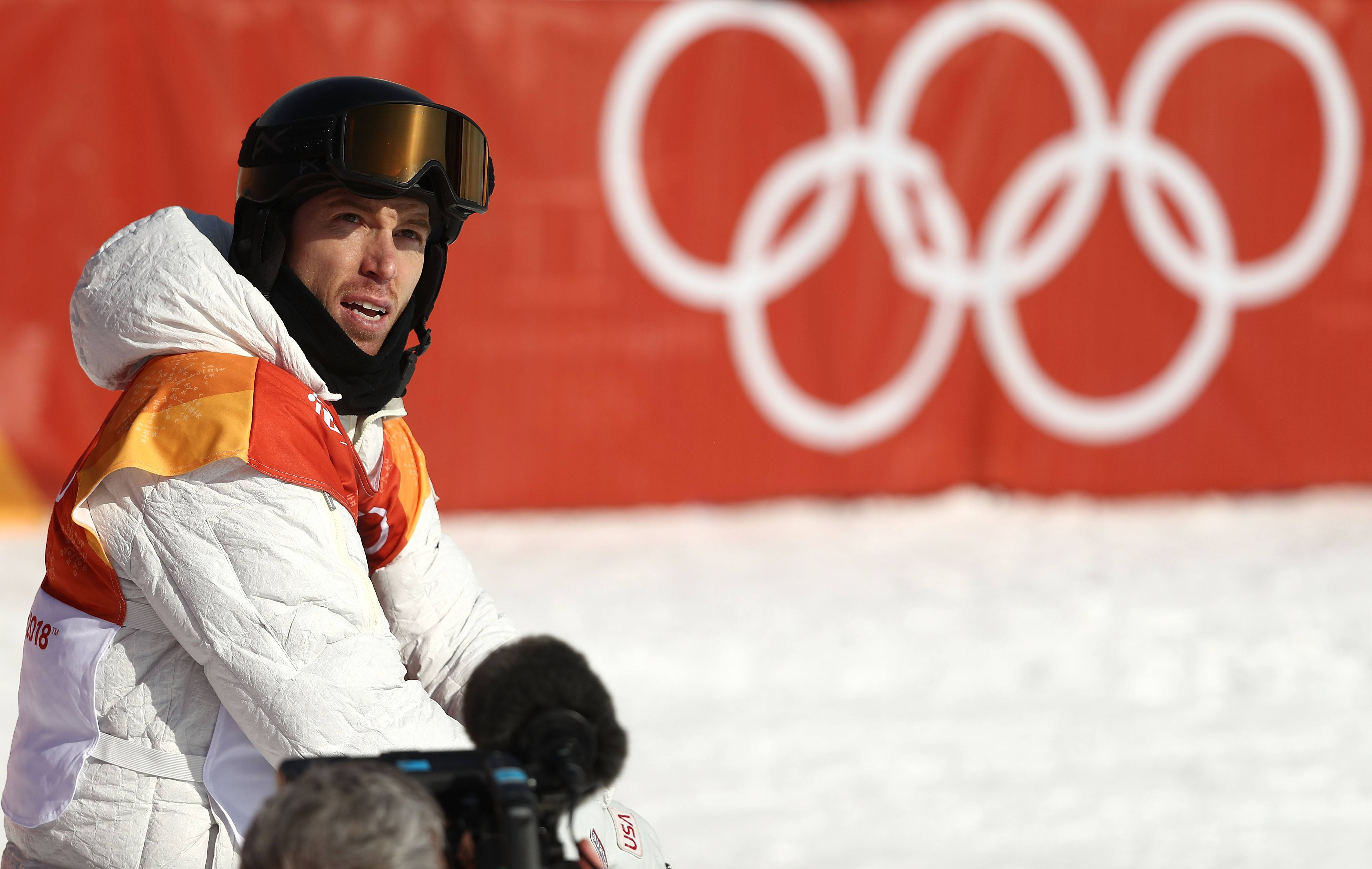 Shaun White of the United States reacts after his run during the Snowboard Men's Halfpipe Qualification on day four