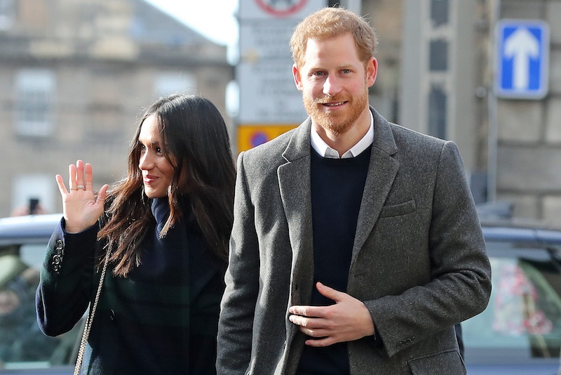 Britain's Prince Harry and his fiancée, US actress Meghan Markle arrive at Social Bite, a social enterprise cafe in Edinnburgh during a visit to Scotland on February 13, 2018. / AFP PHOTO / POOL / Owen Humphreys (Photo credit should read OWEN HUMPHREYS/AFP/Getty Images)