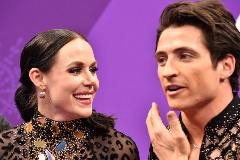 Canada's Tessa Virtue and Canada's Scott Moir react after competing in the ice dance short dance of the figure skating event during the Pyeongchang 2018 Winter Olympic Games at the Gangneung Ice Arena in Gangneung on February 19, 2018. / AFP PHOTO / Mladen ANTONOV (Photo credit should read MLADEN ANTONOV/AFP/Getty Images)