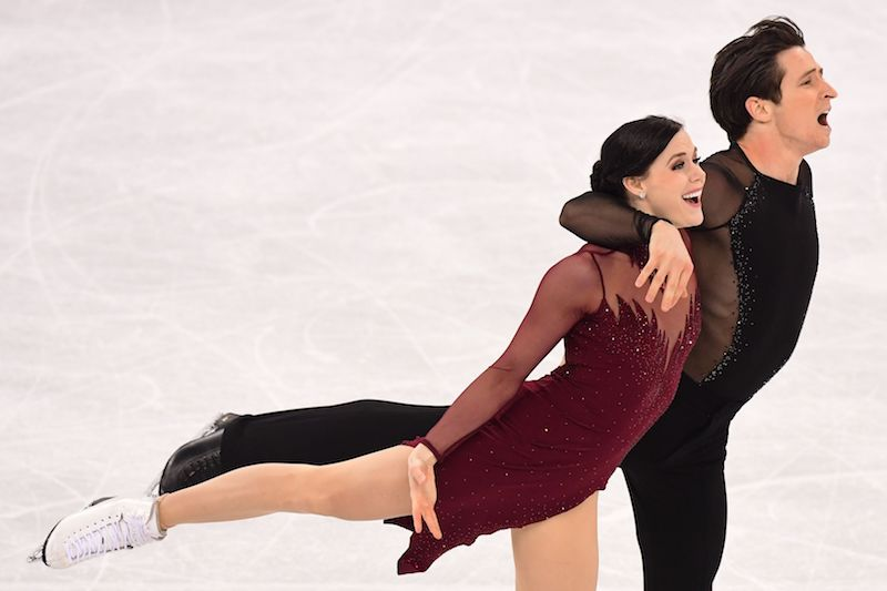 Canada's Tessa Virtue and Canada's Scott Moir compete in the ice dance free dance of the figure skating event during the Pyeongchang 2018 Winter Olympic Games at the Gangneung Ice Arena in Gangneung on February 20, 2018. / AFP PHOTO / Roberto SCHMIDT (Photo credit should read ROBERTO SCHMIDT/AFP/Getty Images)