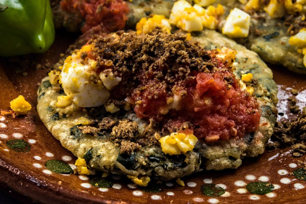 """""""Gorditas de Chaya"""" - thick maize pancakes with sauteed greens with Chaya leaves"""
