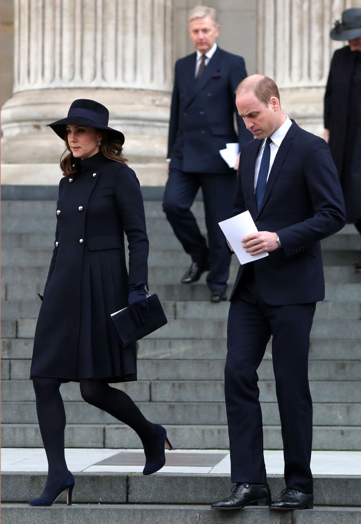 Britain's Catherine, Duchess of Cambridge and Britain's Prince William, Duke of Cambridge leave after attending the Grenfell Tower National Memorial Service
