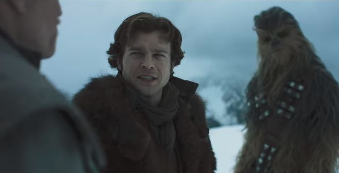 Alden Ehrenreich as Han Solo and Chewbacca in Solo: A Star Wars Story