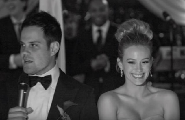 Hillary Duff and her husband on their wedding day.