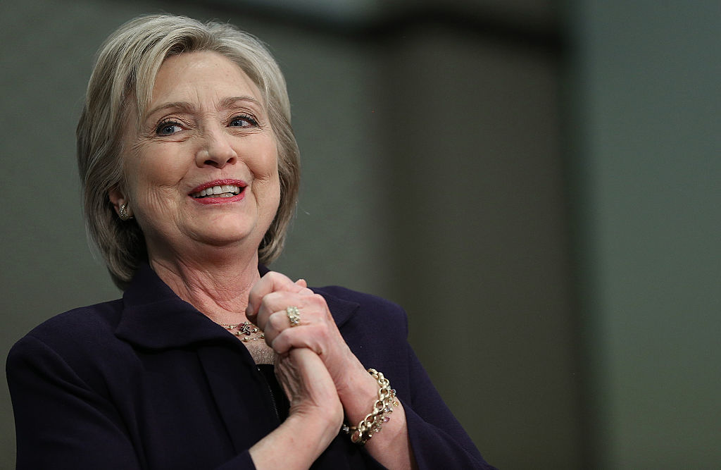 U.S. Democratic presidential candidate Hillary Clinton arrives for a rally
