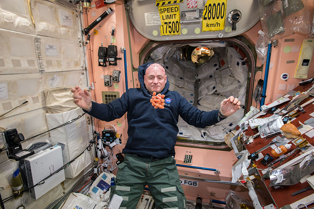 Snack time on the International Space Station