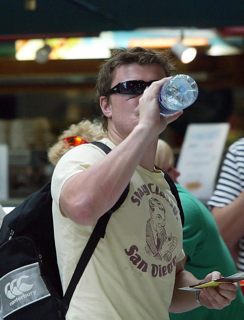 Ireland captain Brian O'Driscoll drinks water