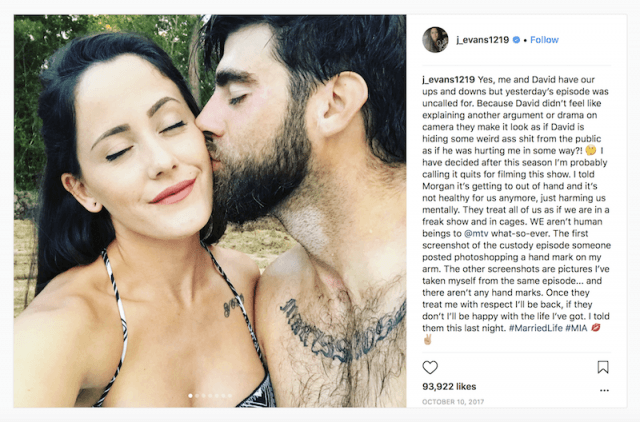 Jenelle Evans instagram post.