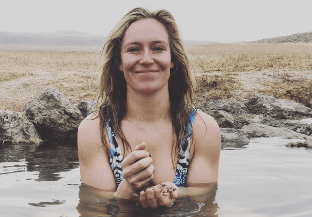 Jamie Anderson in a hot spring.