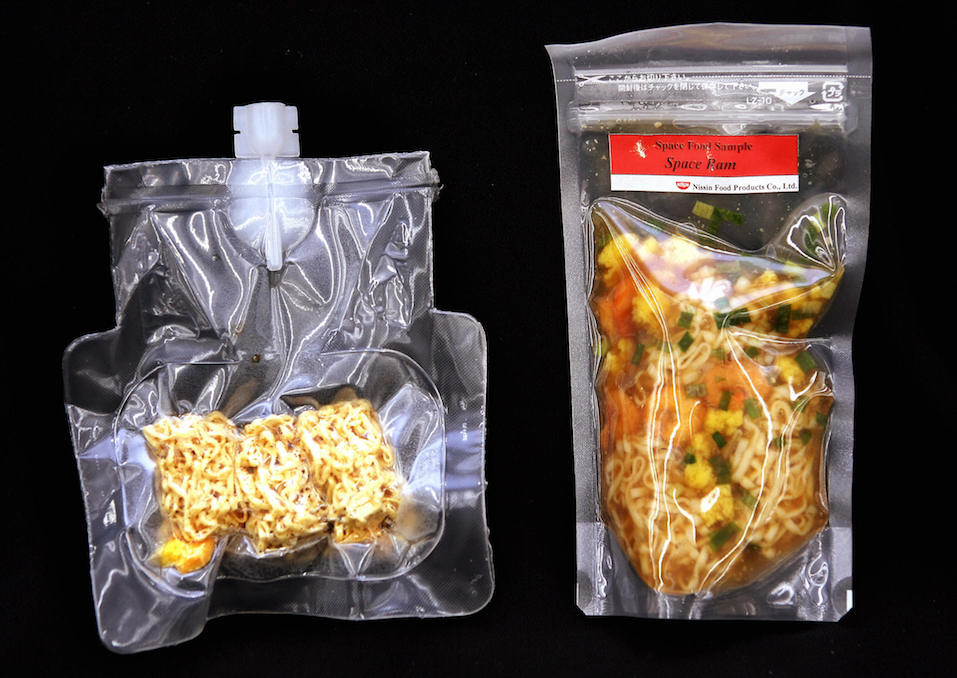 Japan's food maker Nissin food products unveils the instant noodles for astronauts